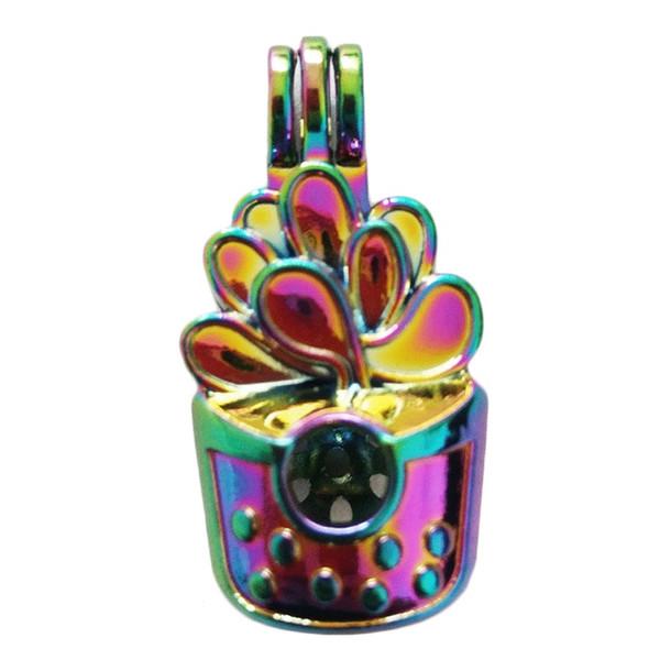5 pcs / lot Arc-En-Couleur Cactus Pot Perles Cage Pendentif Conte de Fée Diffuseur D'huile Essentielle BRICOLAGE Charmes Pendentifs Coloré Pendentif C157