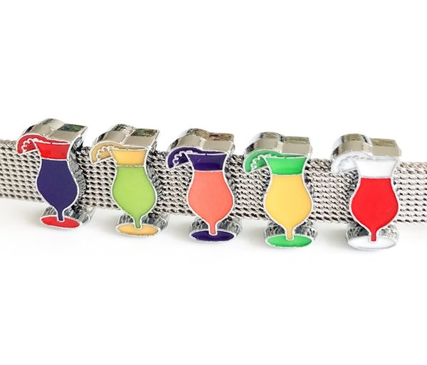 10PCs Mixed Color 8mm Enamel Drinking Cup Slide Charms Fit 8mm Pet Dog Collar Belts Straps Bracelets Tags