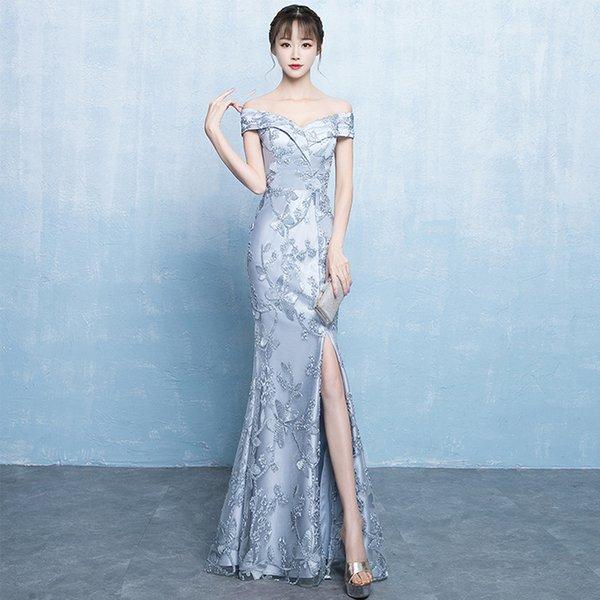 f3649ff8101dd DH689 Kapalı Omuz Elbise Geleneksel Çin Giyim Kadınlar Için Elbise Açık  Çatal Seksi Uzun Abiye Robe