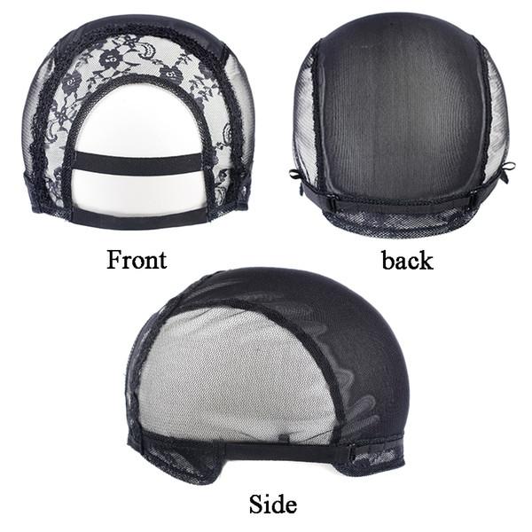 Partie U Capsules de perruque avec filet de dentelle pour la fabrication de perruques à lanières réglables 1pcs / lot Capsules de perruque sans colle pour la fabrication de perruques