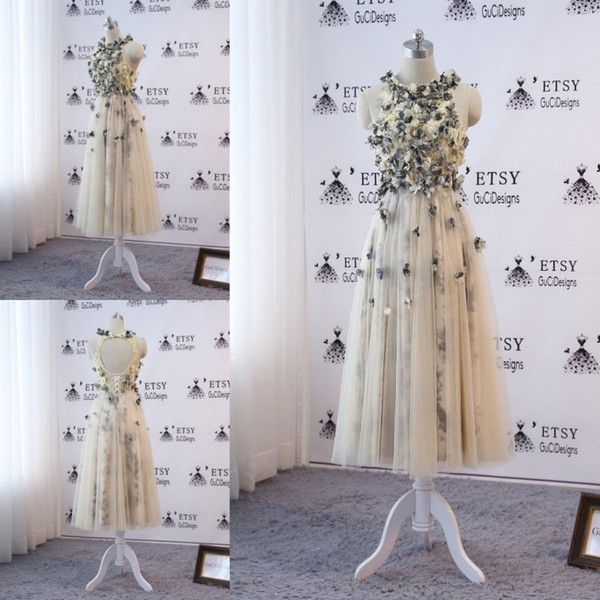 Light Yellow Short Prom Dress 2019 Jewel Neck Printed Lace 3D Applique Beads Evening Downs Hollow Back Formal Dresses