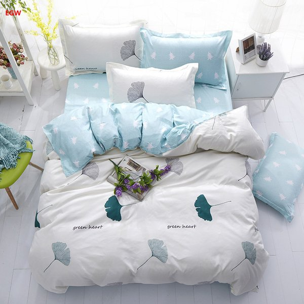 Home textile Summer white green leaf bedding set blue flower full duvet cover bed sheet fresh Spring kid adult bedding five size