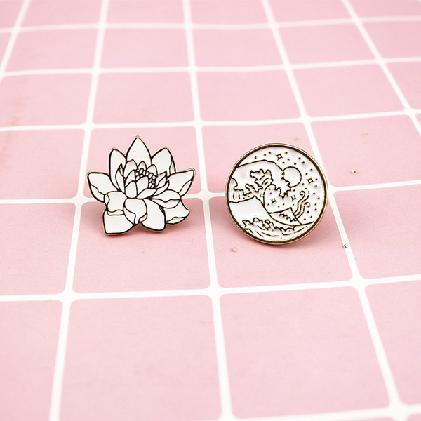 Waves Round Brooches Plant Flowers Enamel Pin for Boys Girls Lapel Pin Hat/bag Pins Denim Jacket Shirt Women Brooch Badge Q270