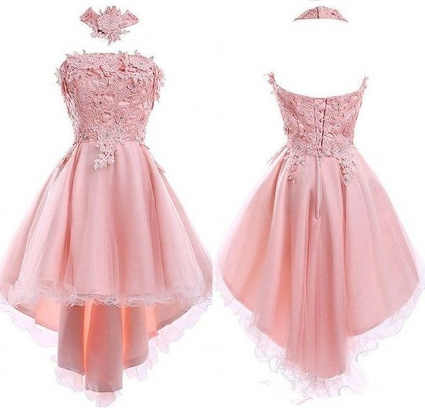 Real Photo Pink Hi-lo Cocktail Dresses With Lace A Line Short Front Long Back Evening Dresses Formal Women Special Occasion Party Gowns