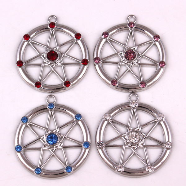 FAERY YıLDıZ Elven Wiccan Yedi Sivri Yıldız Peri alaşım Kolye 925 Ayar Gümüş | Fae Elf Magick Ametistleri Muska