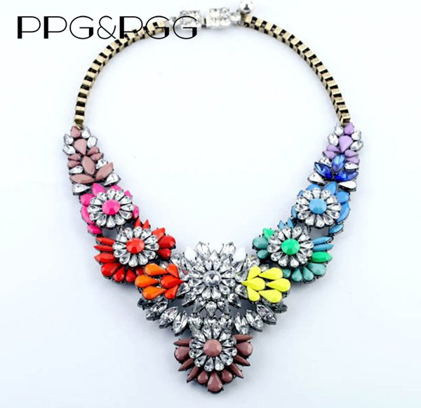 necklace PPG&PGG HOLLOW SHOUROUK luxury colorful crystal fashion vintage skeleton back fashion collar big wing necklace