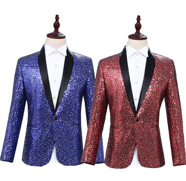 Personality clothes men suits designs terno stage costumes for singers jacket men sequins blazer dance star style dress blue red