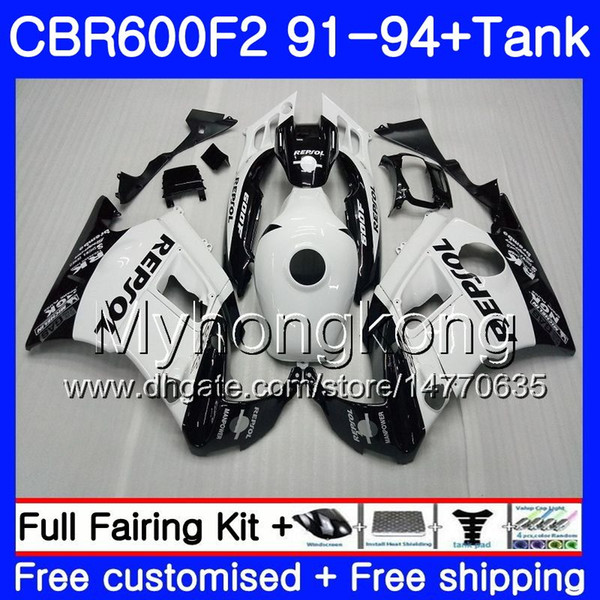 Body Repsol White For HONDA CBR 600 F2 FS CBR600 F2 1991 1992 1993 1994 1MY.42 CBR600FS CBR 600F2 CBR600RR CBR600F2 91 92 93 94 Fairing kit