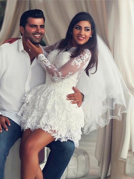 Cheap White Lace Long Sleeve Wedding Dresses Short Jewel A Line Mini Wedding Gowns Bridal Dress Custom Made Vestidos De Novia Online 2018
