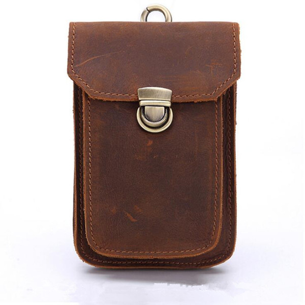 Crazy Horse de cuero Vintage Paquetes de la cintura de los hombres del teléfono móvil bolsa de viaje Paquete de Fanny Loop de la cadera bolso de la cintura del vago Bolsa