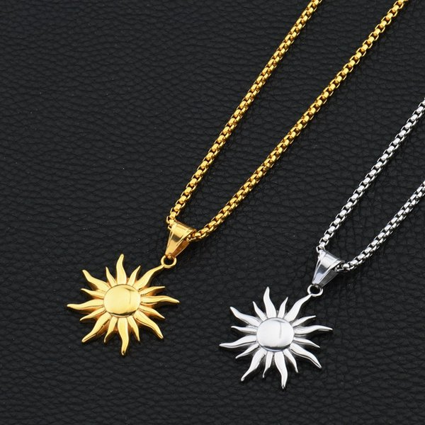 New Fashion Hip Hop Jewelry Sun Pendant Necklaces for Men 18k Gold Plated 70cm Long Chain Stainless Steel Design