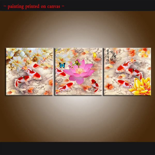 Framed/Unframed Hot Modern Contemporary Canvas Wall Art Print painting Feng shui zen koi fish Picture 3 piece Living Room Home Decor abc458