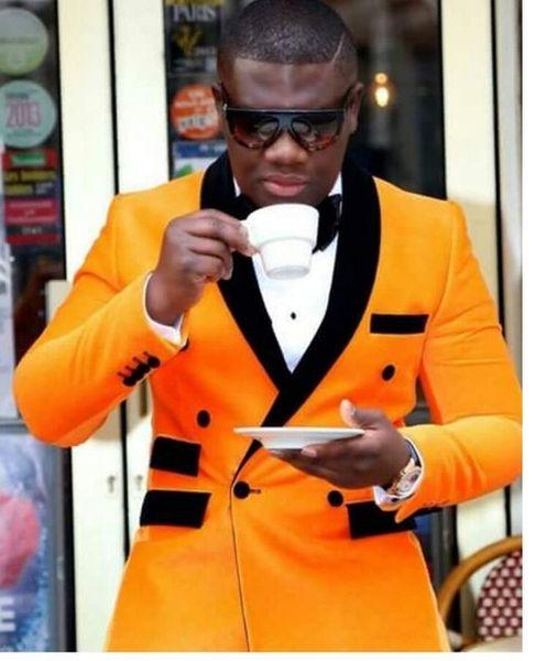 Orange Yellow 2 Piece Suit Men Wedding Tuxdos High Quality Groom Tuxedos Double-Breasted Side Vent Excellent Men Blazer(Jacket+Pants+Tie) 10