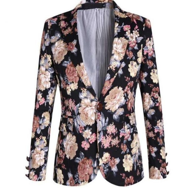 Italian Design Top Fashion Brand New Mens Floral Printed Blazers For Man Flower Casual Jackets British Style Suits Free Ship