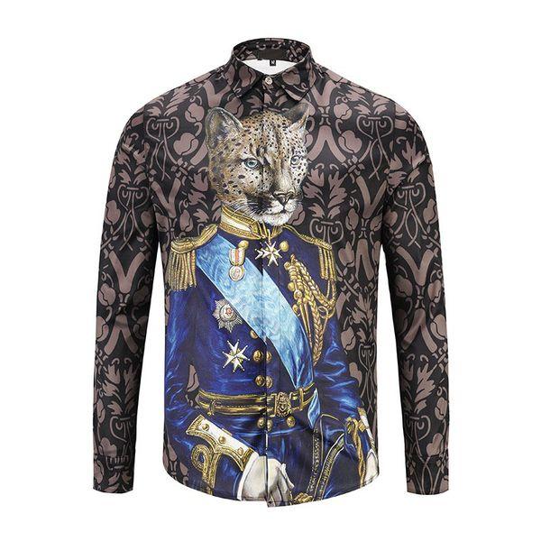 2018 Nueva primavera Marca de Moda Hombres Colthes Slim Fit Hombres camisa de manga corta Medusa FBaoTou loral print Shirts Hombres