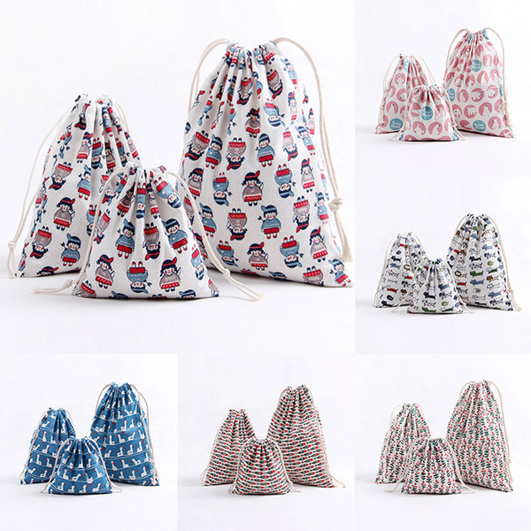3pcs/lot Christmas Gift Bag Storage Bag Cotton Linen Drawstring Bundle Bags Xmas Candy Tea Gift Wrap Christmas Decorations 9color WX9-753