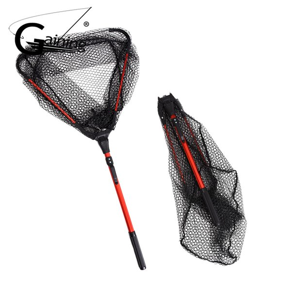 Folding Aluminum Fishing Net Fish Landing Net Foldable Pole Handle Durable Nylon Material Mesh Safe Fish Catching or Releasing