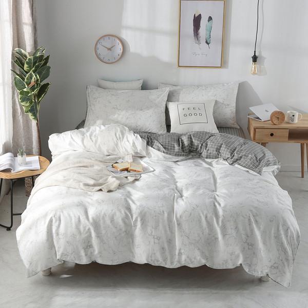 Set di biancheria da letto in cotone stile nordico set di lenzuola copripiumino federe 3 / 4pcs set di lenzuola copripiumino biancheria da letto # / J