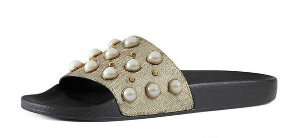 8ede9ca81d295 new arrival mens and womens 2017 fashion causal flat slide sandals with Pearl  effect and gold