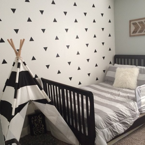 80pcs/set Geometric Triangle Vinyl Wall Decals DIY Wall Stickers Removable Art Stickers for Kids Bedroom Home Decor