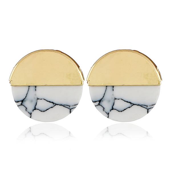 Pierre naturelle blanc Turquoise marbre boucles d'oreilles plaqué or alliage rond pièce de pierre précieuse Stud pour les femmes bijoux