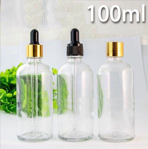 Wholesale 100ml Clear Glass Essential Oil Bottles With Dropper Cap & Glass Pipette, Eye Dropper Bottles For E liquid E cig