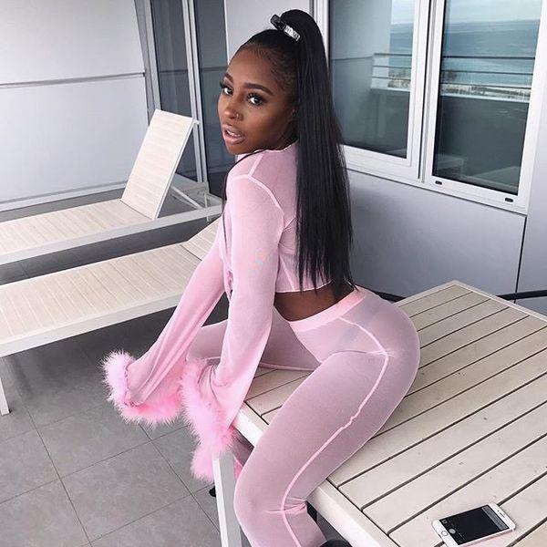 Sexy V-Ausschnitt Mesh Trainingsanzug Zweiteiler Frauen Crop Top und Hosen Herbst Fluffy Kostüm Rosa Hip Hop Sweat Suits Durchschauen