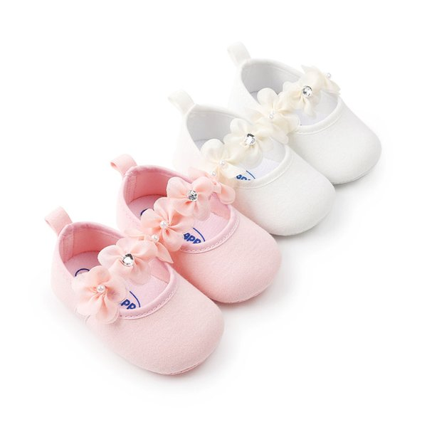 Newborn Baby Girl Shoes Spring Autumn Flowers Diamond Gauze Cotton Soft Baby Shoes Princess Fashion