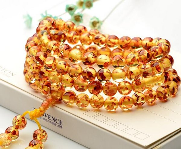 Baltic Amber Wax Bracelet Blood Perfflower Old Wax Bracelet Bracelet 108 Beads Necklace Rosary