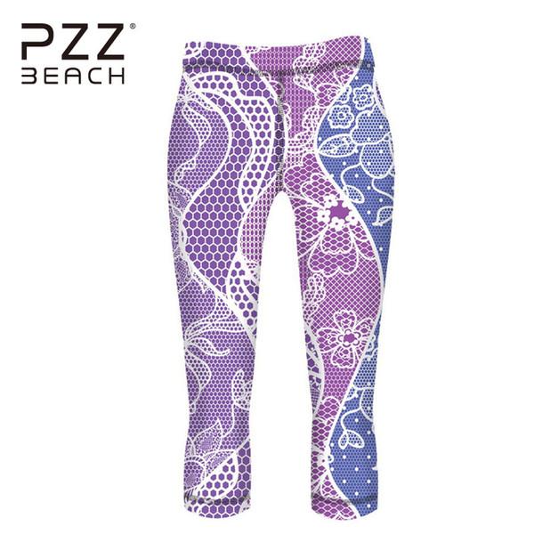 Compre Elegante Patrón 3d Mujeres Yoga Pantalones Sin Costuras 3/4 ...