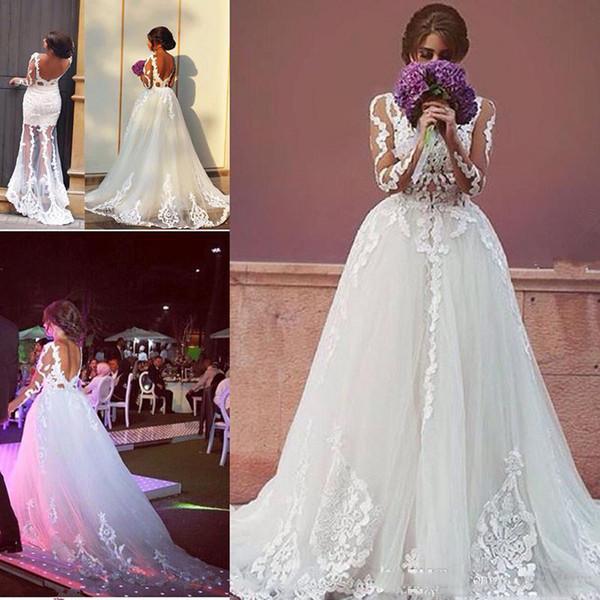 2018 элегантный белый два в одном свадебные платья свадебные платья высокое качество аппликация с длинными рукавами спинки тюль женщины носят свадебные платья партии P