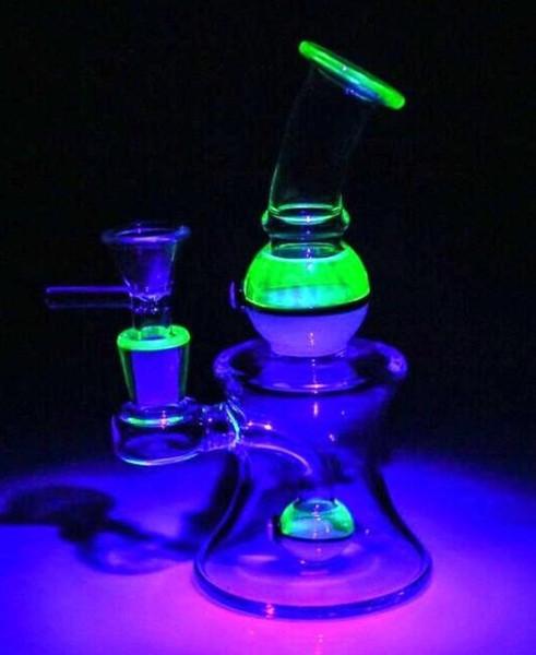 Uv verre Matériau verre Bongs de base épaisse soufflé à la main narguilés Bowl Joint 14.4mm Dab Rigs verre Bong Les conduites d'eau
