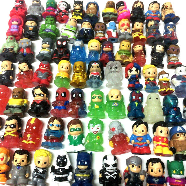 Lot10Pcs/Set Ooshies DC Comics/Marvel Ooshie Pencil Toppers Action Figure Kids Toy Doll Gift Xmas Gift Party Decoration
