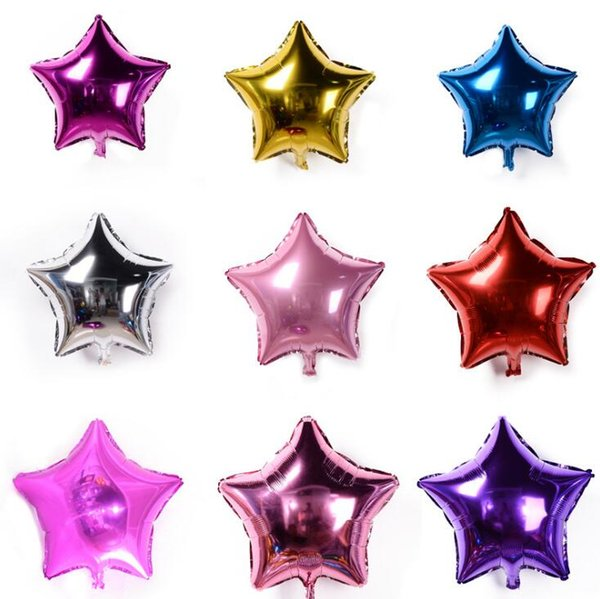 50 PCS/Lot 5 inch Five-pointed star Aluminum foil balloon wedding birthday party wedding Market hotel supplies air balloons