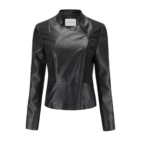Lederjacke Top weibliche Herbst neue britische Art Pu Leder schwarz dünne römische Tuch Nähen Herbst einzigen Produkt