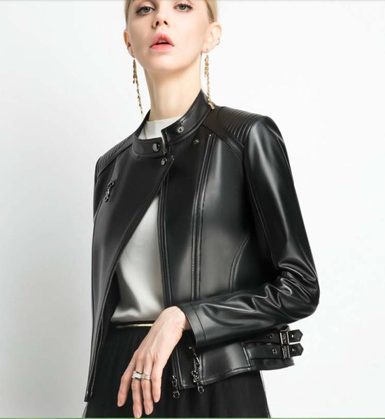Italy 2019 woman spring autumn fashion leather coat genuine real sheepskin motor biker short jacket for lady female black xxl