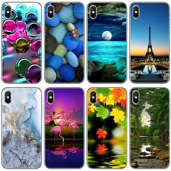 For iPhone X cases Beautiful flowers landscape TPU painting Cell Phone Cases soft silicone back phone shell cover for iphone 5S 6S 7 8 Plus