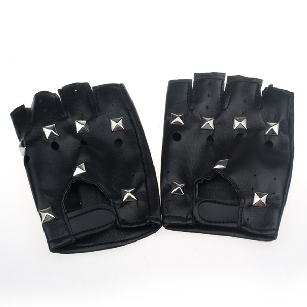 2018NEW Jaycosin Theatrical Punk Hip-hop PU Black Half-finger Leather Gloves Square Nail Christmas Dropshiping july4