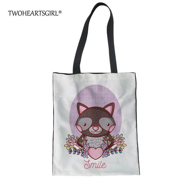 Twoheartsgirl Fashion Youth Girls Linen Tote Bags Raccoon Printing Ladies Summer Beach Bags Women Large Capacity Canvas Handbags