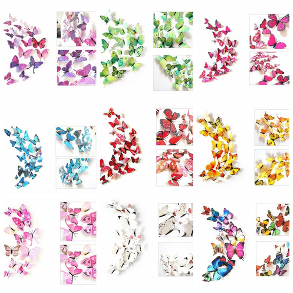3D Colorful Butterfly Wall Stickers DIY Art Decor Crafts For Nursery Classroom Offices Kids Girl Baby Bedroom Living Room Magnet Glue