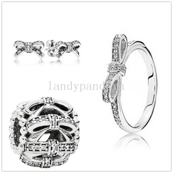 Otantik 925 Gümüş Charm Boncuk Yüzük Küpe Takı Seti Avrupa Pandora Bilezikler Kolye -ring04 Uyar