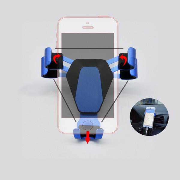 Gravedad Soporte para teléfono para coche Respiradero de aire universal para teléfono inteligente soporte GPS Rotación Alto grado de aluminio Metal Gravedad Soporte para teléfono celular