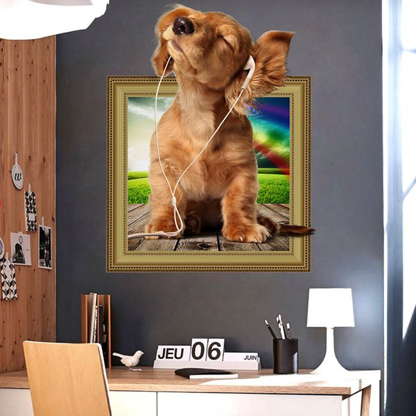 Cartoon Music Dog 3D Stickers PVC Self-adhesive Wall Stickers Waterproof Can Be Removable Arts Murals Nursery Kid's Room Decor Free Shipping