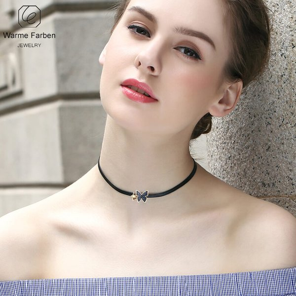 WARME FARBEN Fashion Jewelry Women Necklace Made With Crystal Choker Necklace Black Rope Chain Butterfly Bow Clavicle