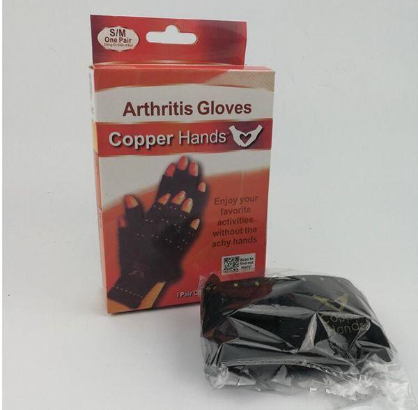 top popular 2018 Arthritis Compression Gloves Copper Hands Gloves Women Men Health Care Half Finger Ache Pain Rheumatoid Therapy Sports Gloves 2019