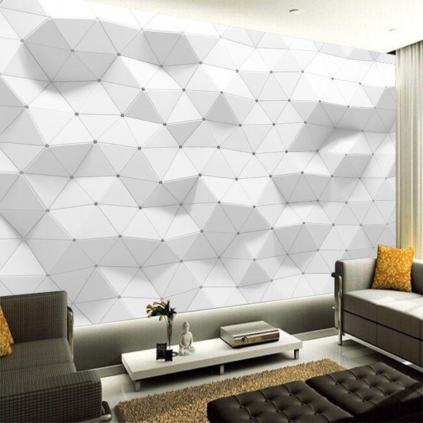 Großhandel 3D Weiß Geometrische Wellen Moderne Nonwoven Kundenspezifische  Tapete Kunst Poster Schlafzimmer Wohnzimmer Große Wanddekor Dekoration Von  ...