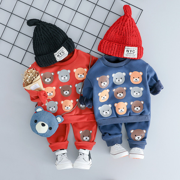 Winter Baby Clothes Set Long Sleeve Fleece 1-3Y Cartoon letters Boys Tops+ velvet Pants 2pcs Thick Warm Suits Kids Clothing Y1892808