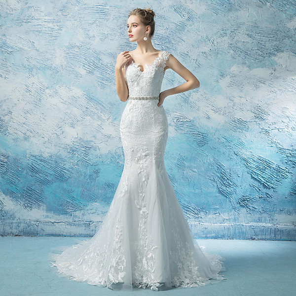 2019 Modest French lace mermaid wedding dresses with Crystals sash elegant cape sleeves V neck lace up corset bridal wedding gowns plus size