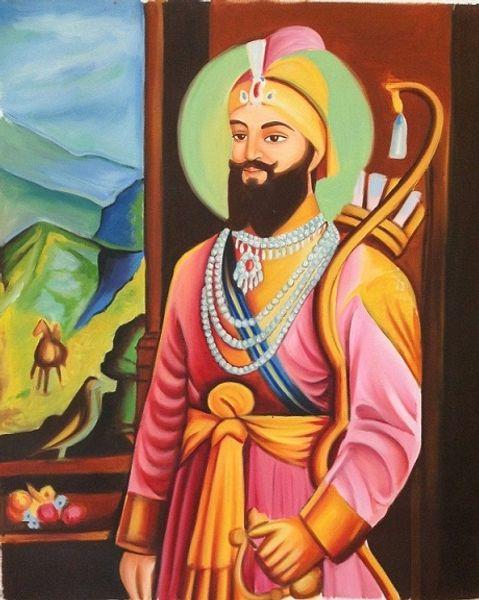 Sikh Art Handmade /HD Print Guru Gobind Singh Portraits Oil on Canvas Indian Ethnic Punjab Painting Multi Custom Sizes /Frame P161