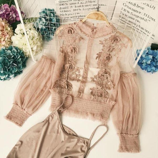 Été Japonais Femmes Transparent Blouse À Manches Longues Dentelle Patch Col Haut chemisier chemises 2pc + Sling Noir Blanc Mousseline Tops